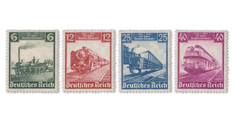 Deutsches Reich - 100 Jahre deutsche Eisenbahn (Mi. Nr. 580-83)
