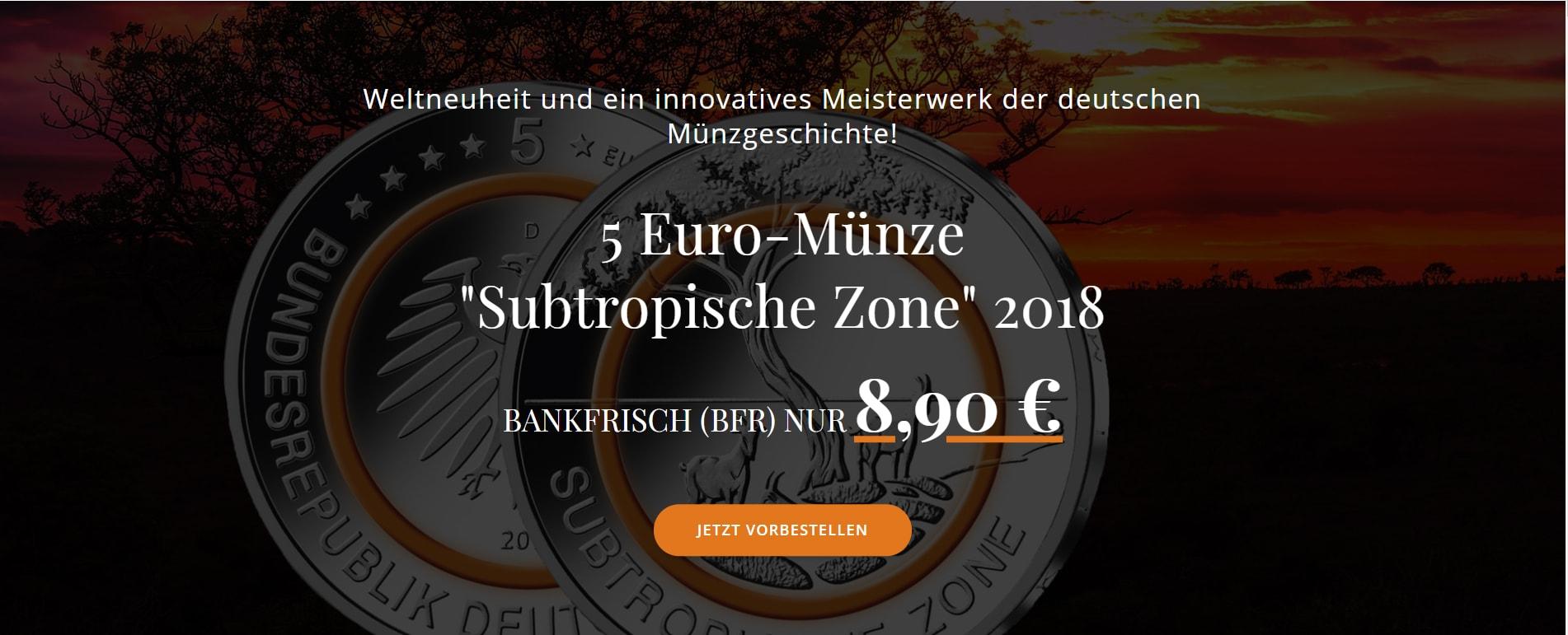 5 Euro Subtropische Zone 2018 Vorbestellen Min Waigand Sammlerwelt