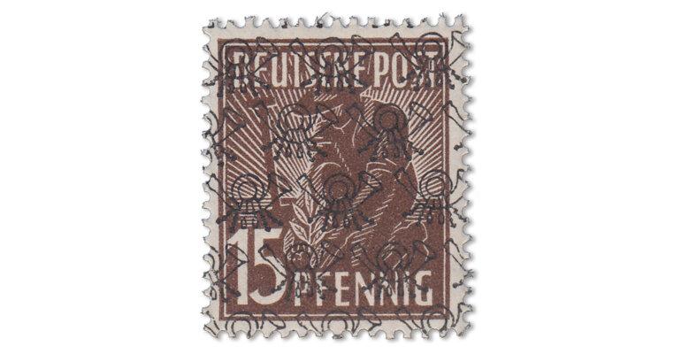 Bizone - Posthörnchen 15 Pfg. schwärzlichsiena (Mi. Nr. 41 II aa)