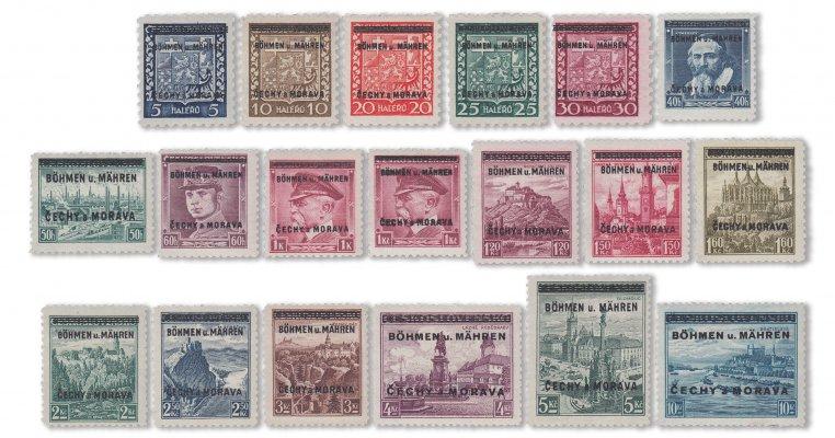II. Weltkrieg - Böhmen & Mähren Aufdrucke 1939 (Mi. Nr. 1-19)