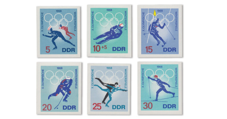 DDR - Olympiade 1968 ungezähnt (Mi. Nr. 1335-40 PH/U)