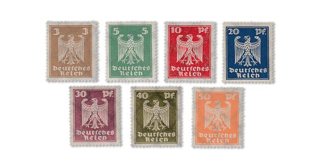 Deutsches Reich - Freimarken neuer Reichsadler von 1924 (Mi. Nr. 355-61)