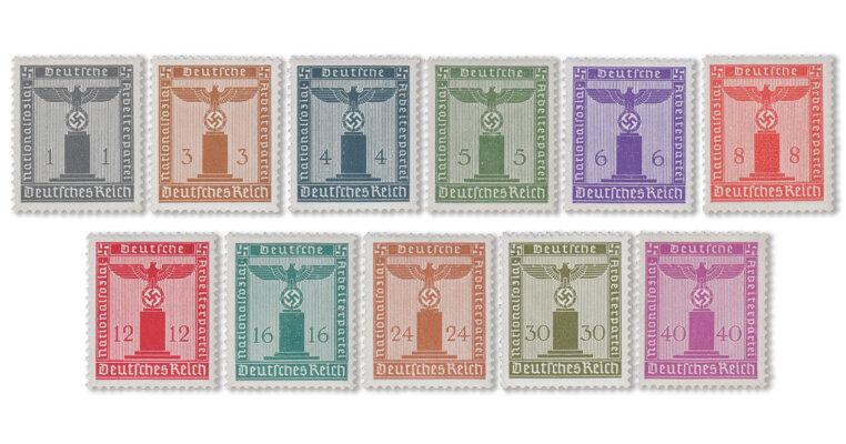 Deutsches Reich - Dienstmarken - Parteidienst ohne Wz. (Mi.Nr. 155-65)