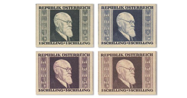 Österreich - Sonderausgabe Renner-Satz geschnitten (Mi. Nr. 772-75 B)