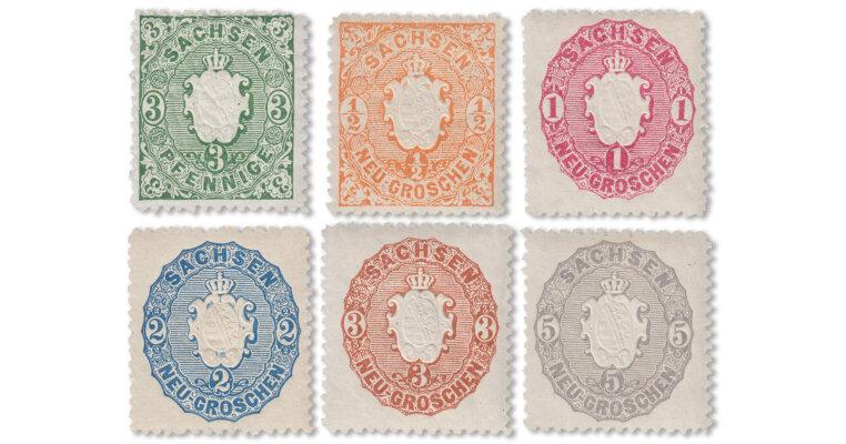 Sachsen - Wappen-Serie von 1863/67 komplett (Mi. Nr. 14-19)