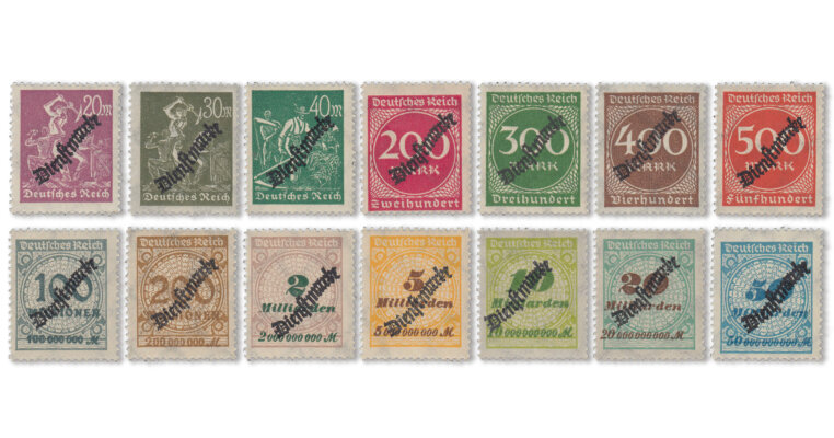 Deutsches Reich - Dienstmarken Schlangen-Aufdrucke (Mi. Nr. 75-88)